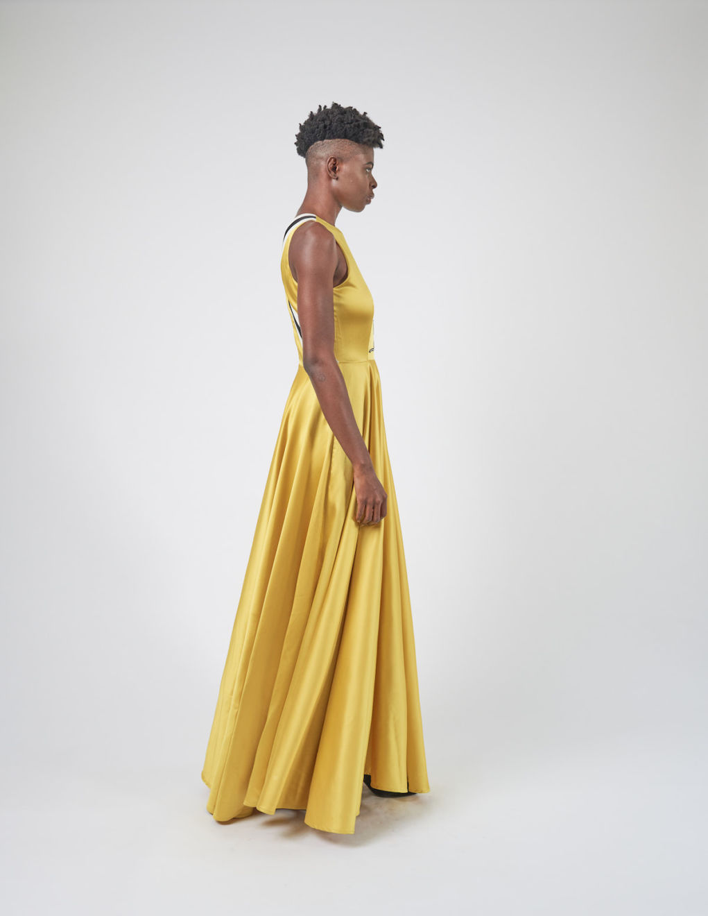 Sleeveless Yellow Satin Gown-right