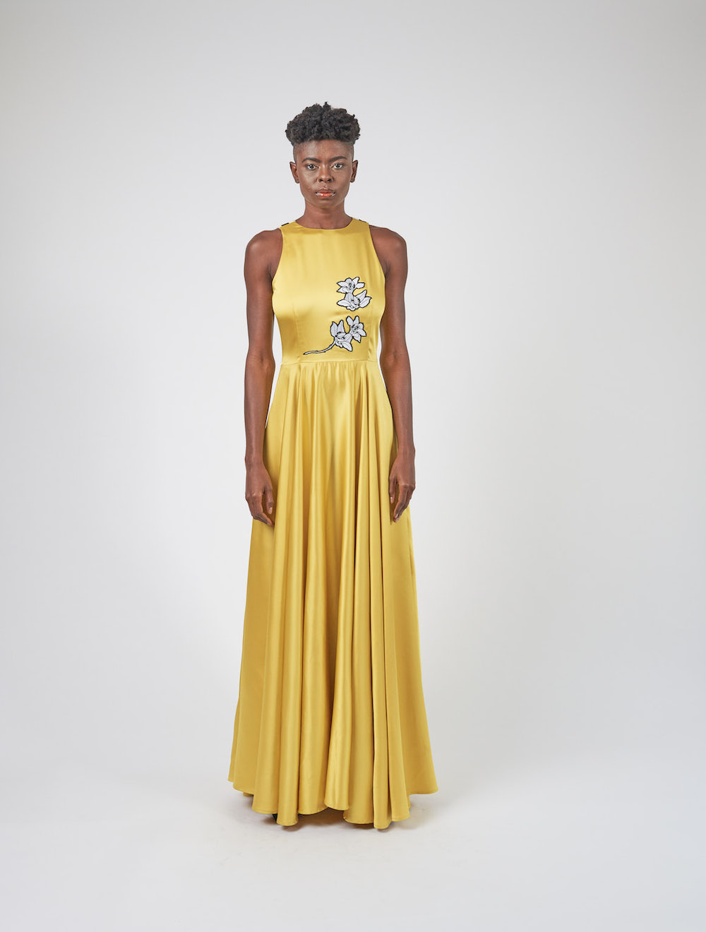 Sleeveless Yellow Satin Gown