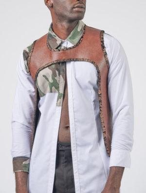 Leather crop vest