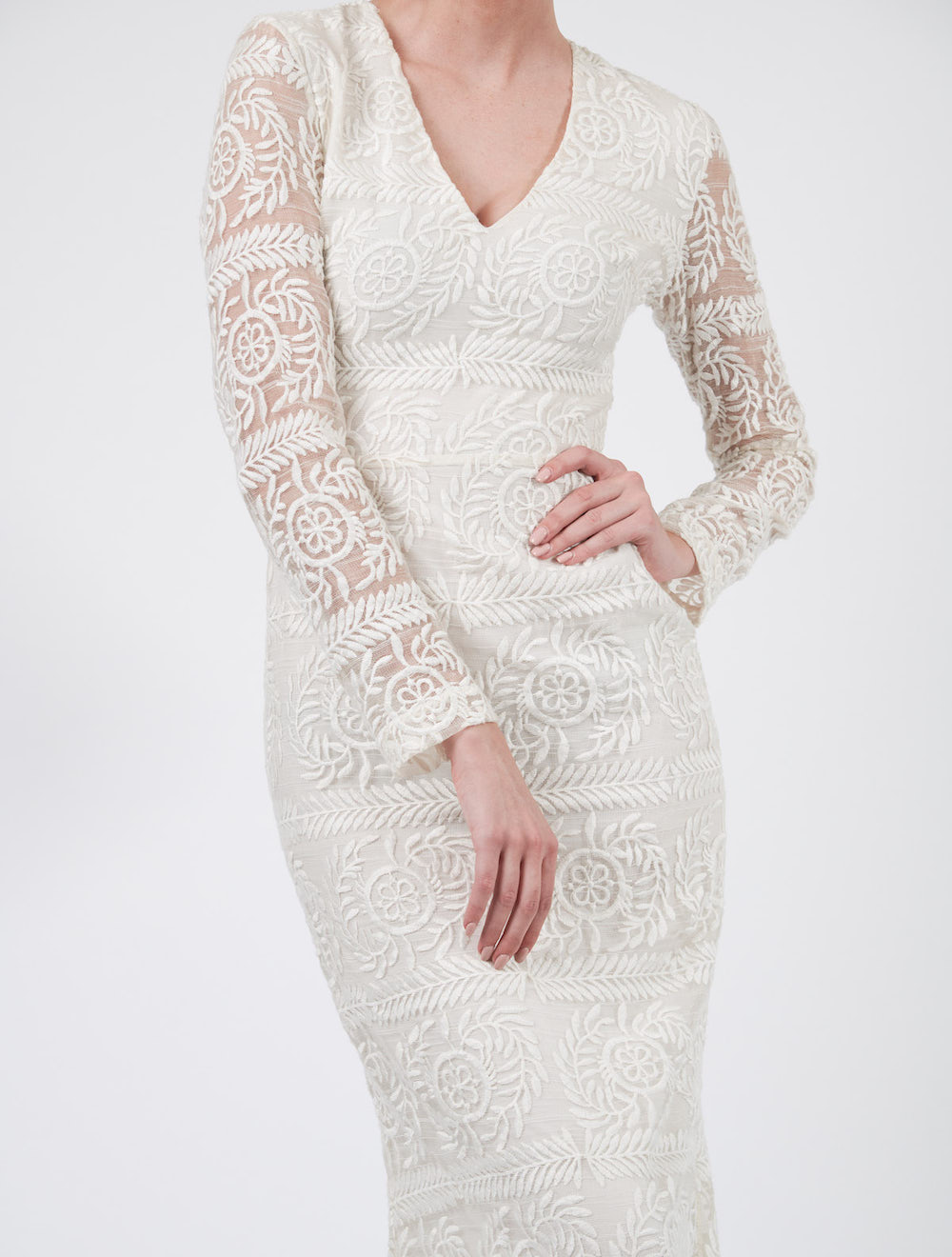 White Long Sleeve Evening Dress Close in long