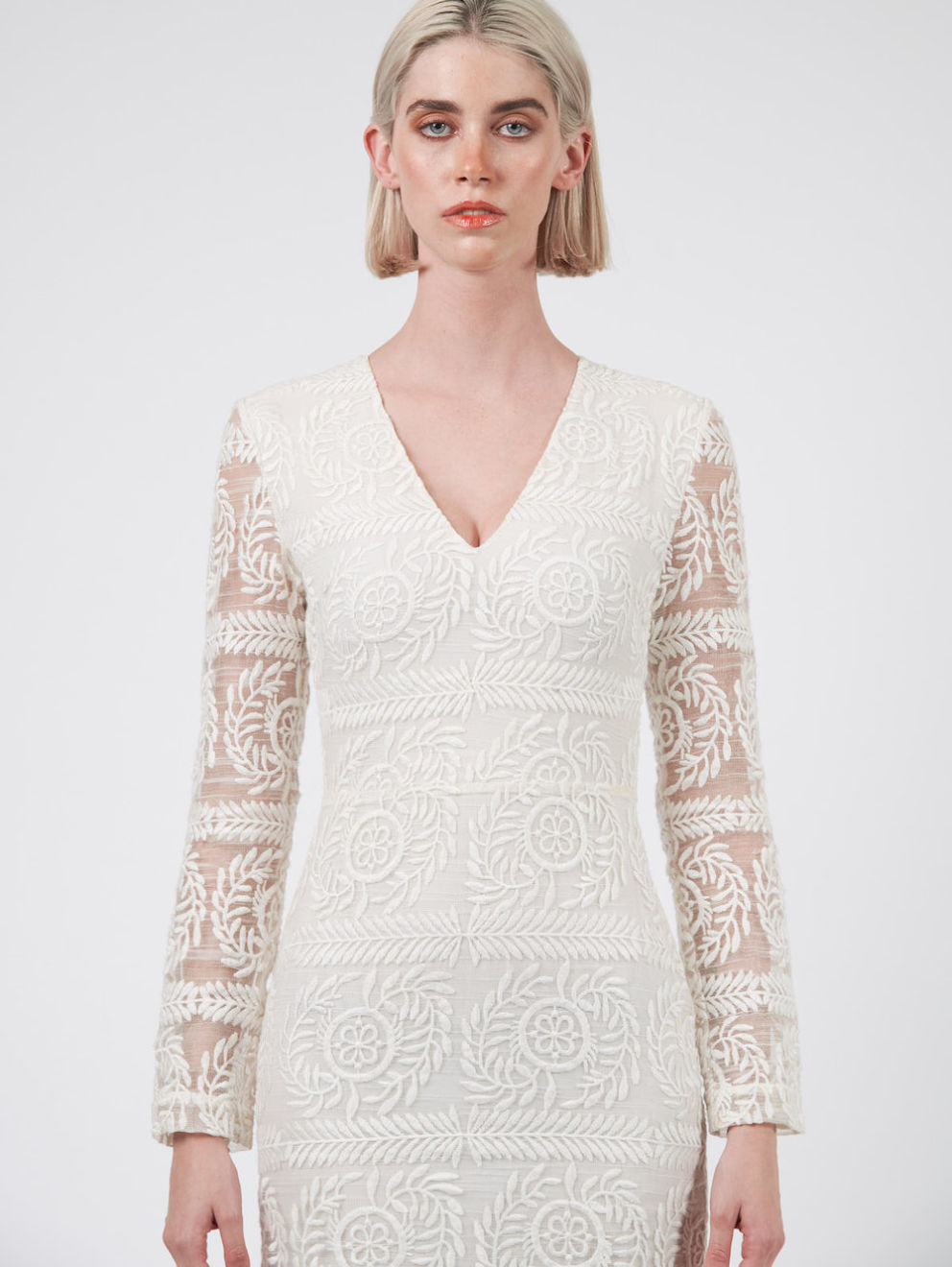 White Long Sleeve Evening Dress Close in