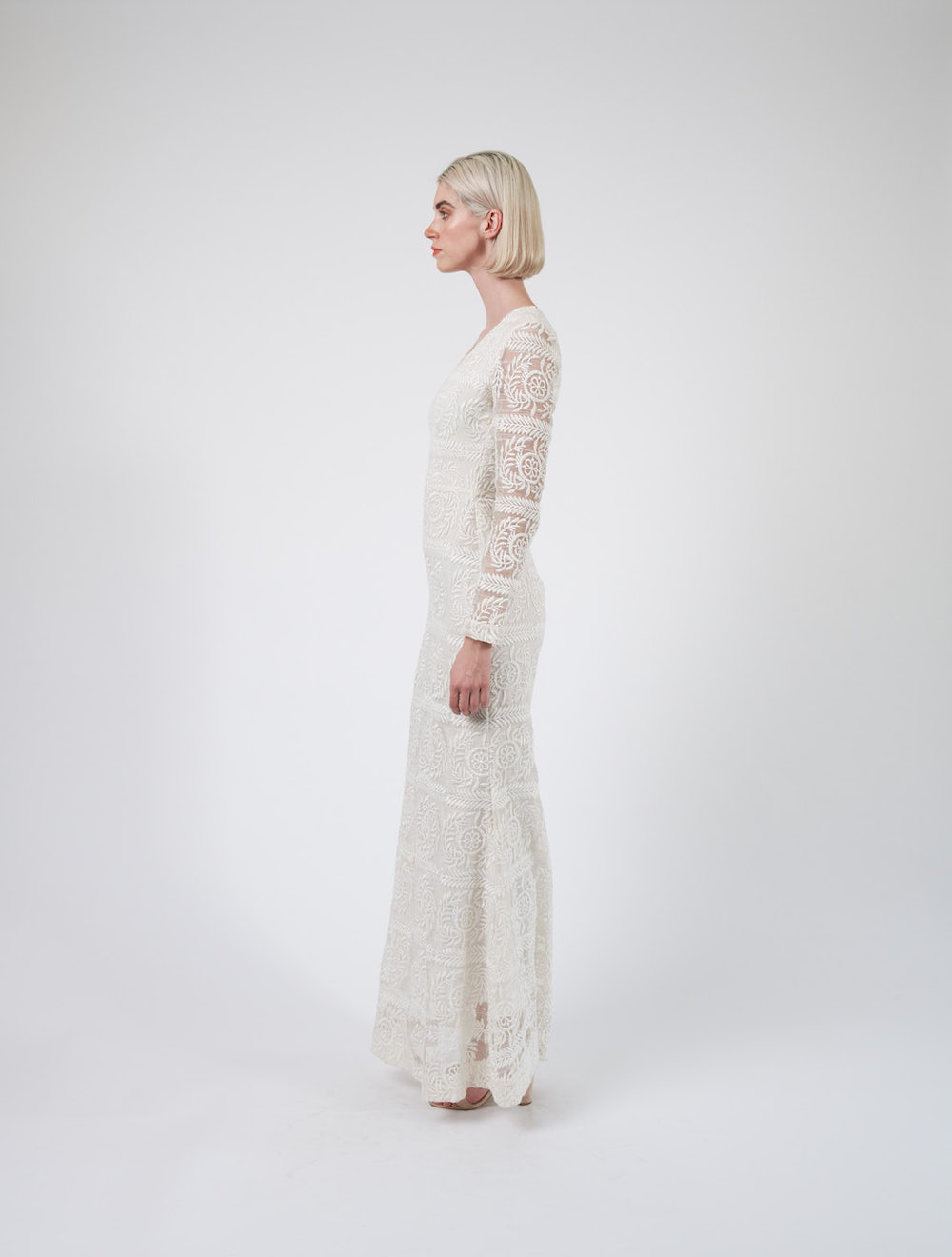 White Long Sleeve Evening Dress Side
