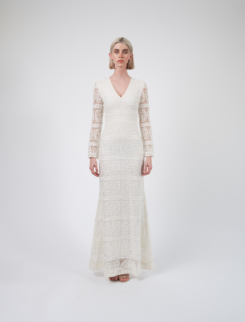 White Long Sleeve Evening Dress