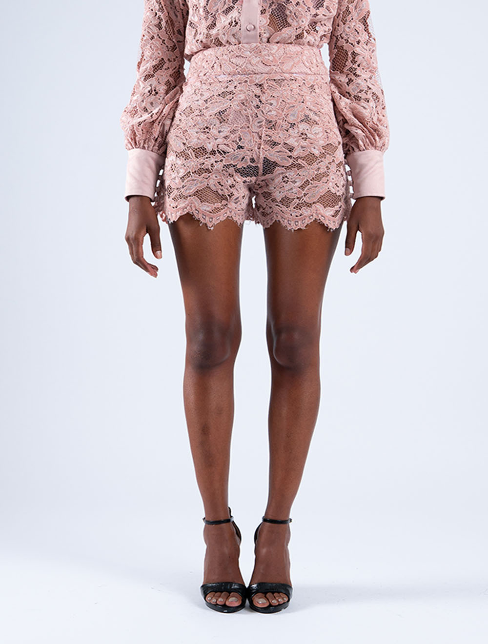 Flocked Cocoon Shorts – Front