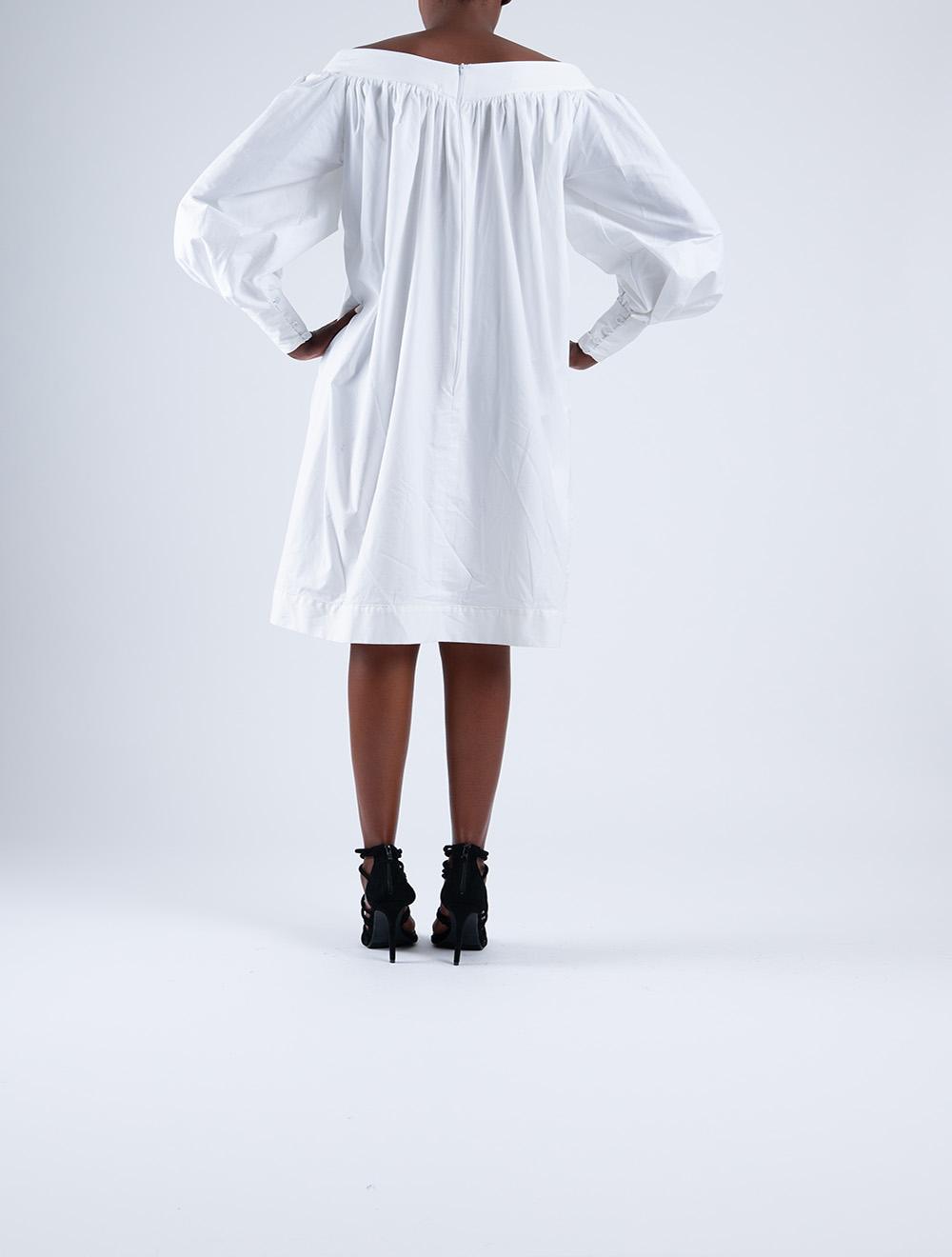 Off-Shoulder Poplin Dress – Back