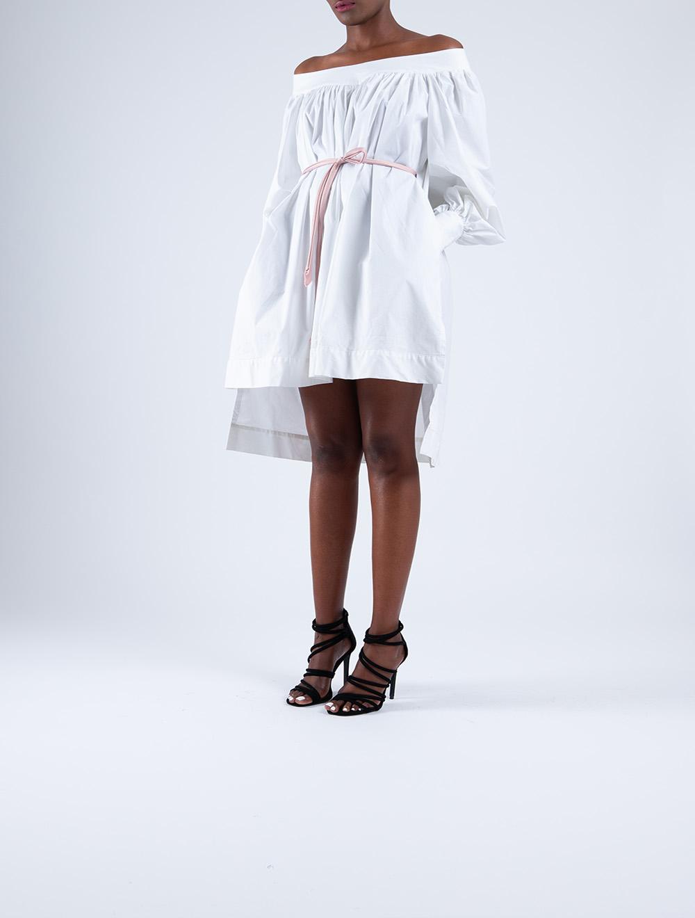 Off-Shoulder Poplin Dress