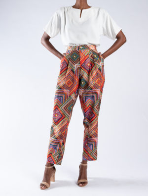 Geometric Long Pleated Pants
