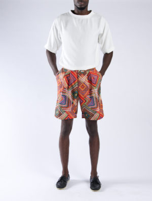 Geometric Print pleated Shorts