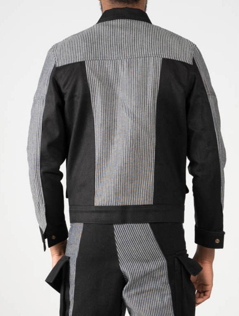 3D Glitch striped jacket – Back