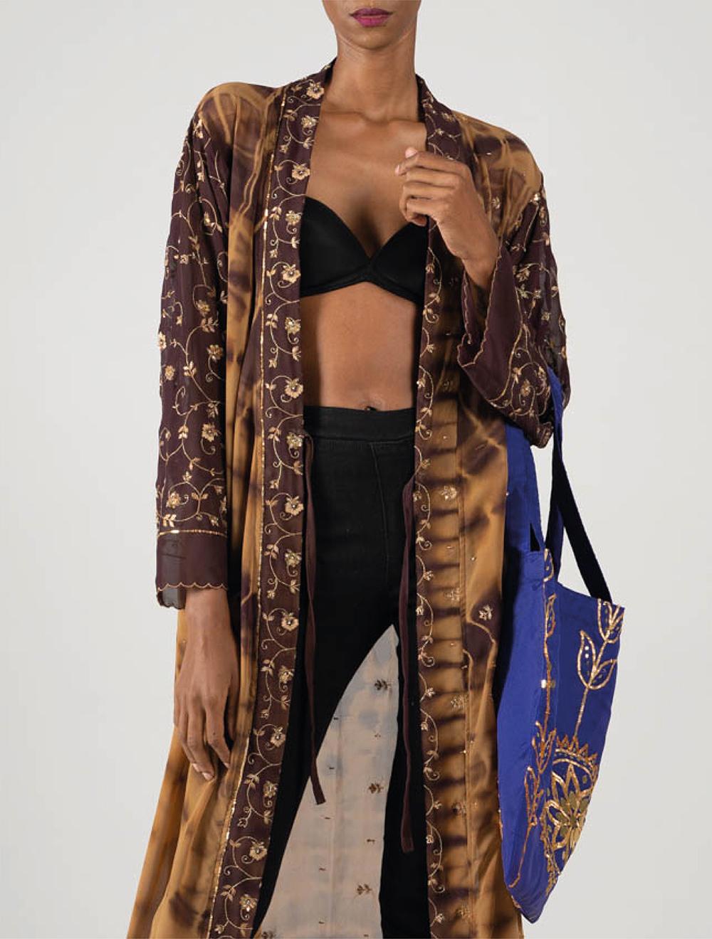 Gold and coffee Amira Kimono – Front